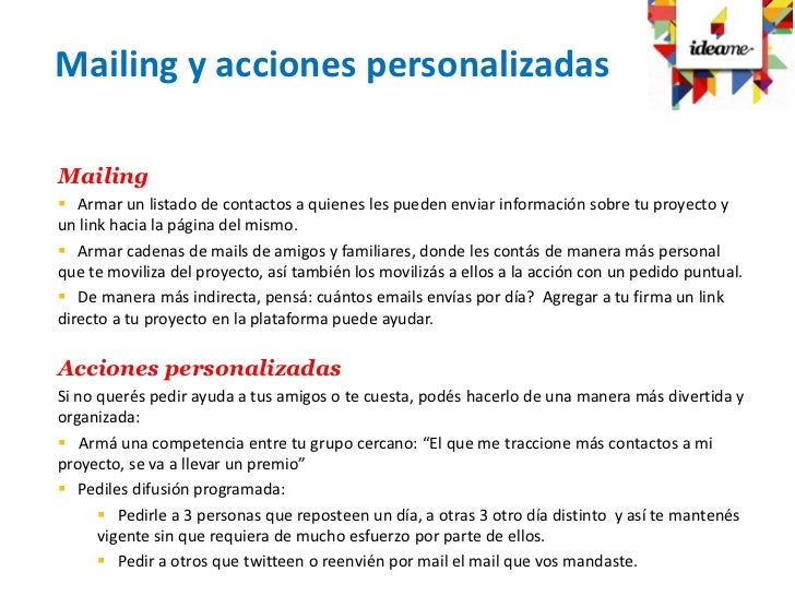 Mailing y acciones personalizadasMailing Armar un listado de contactos a quienes les pueden enviar información sobre tu p...