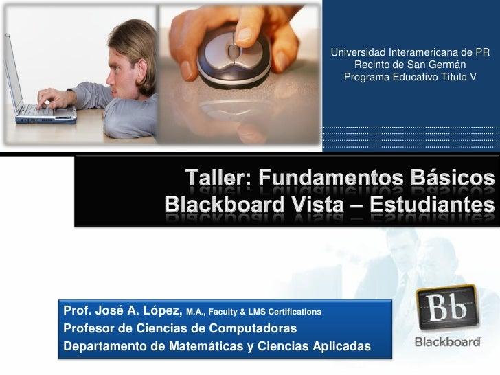 Taller Blackboard Vista Estudiantes