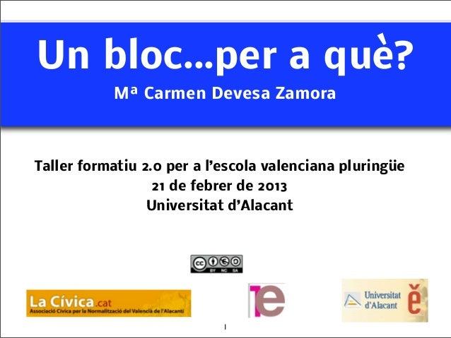 Un bloc...per a què?           Mª Carmen Devesa ZamoraTaller formatiu 2.0 per a l'escola valenciana pluringüe             ...