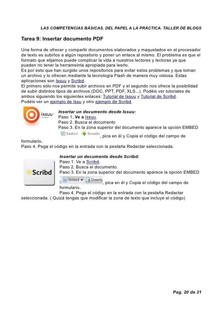 LAS COMPETENCIAS BÁSICAS. DEL PAPEL A LA PRÁCTICA. TALLER DE BLOGS  Tarea 9: Insertar documento PDF  Una forma de ofrecer ...