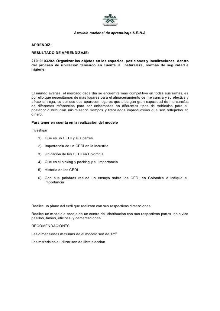 Servicio nacional de aprendizaje S.E.N.AAPRENDIZ:RESULTADO DE APRENDIZAJE:21010103202. Organizar los objetos en los espaci...