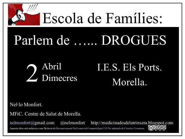 I.E.S. Els Ports. Morella. Nel·lo Monfort. MFiC. Centre de Salut de Morella. nelmonfort@gmail.com @nelmonfort http://medic...