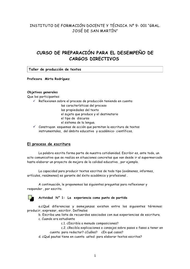 """INSTITUTO DE FORMACIÓN DOCENTE Y TÉCNICA. Nº 9- 001 """"GRAL.                   JOSÉ DE SAN MARTÍN""""           CURSO DE PREPAR..."""
