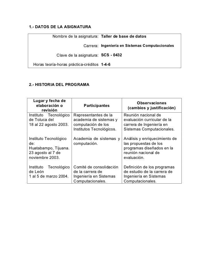 1.- DATOS DE LA ASIGNATURA            Nombre de la asignatura: Taller de base de datos                             Carrera...