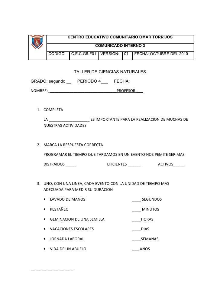 CENTRO EDUCATIVO COMUNITARIO OMAR TORRIJOS                                                COMUNICADO INTERNO 3            ...