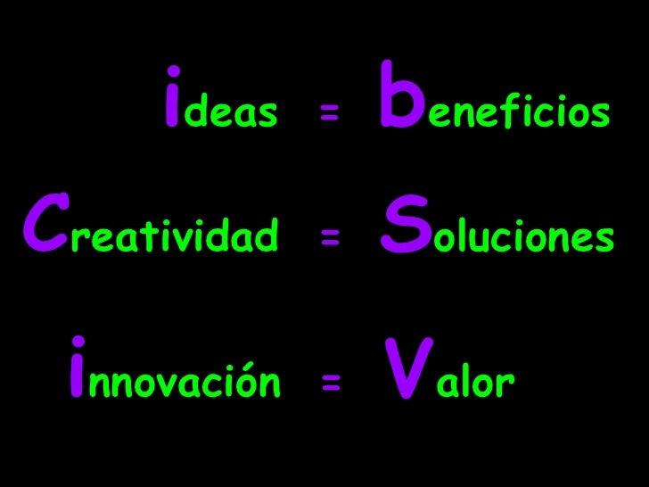 ideas  =beneficios<br />Creatividad  = Soluciones<br />innovación  =  Valor<br />