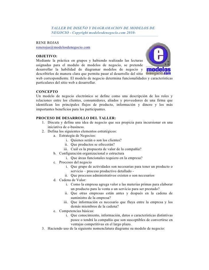TALLER DE DISEÑO Y DIAGRAMACION DE MODELOS DE          NEGOCIO - Copyright modelosdenegocio.com 2010-  RENE ROJAS reneroja...