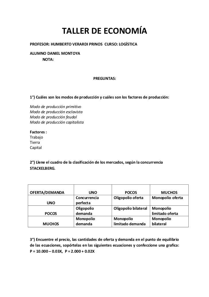 TALLER DE ECONOMÍAPROFESOR: HUMBERTO VERARDI PRINOS CURSO: LOGÍSTICAALUMNO DANIEL MONTOYA     NOTA:                       ...