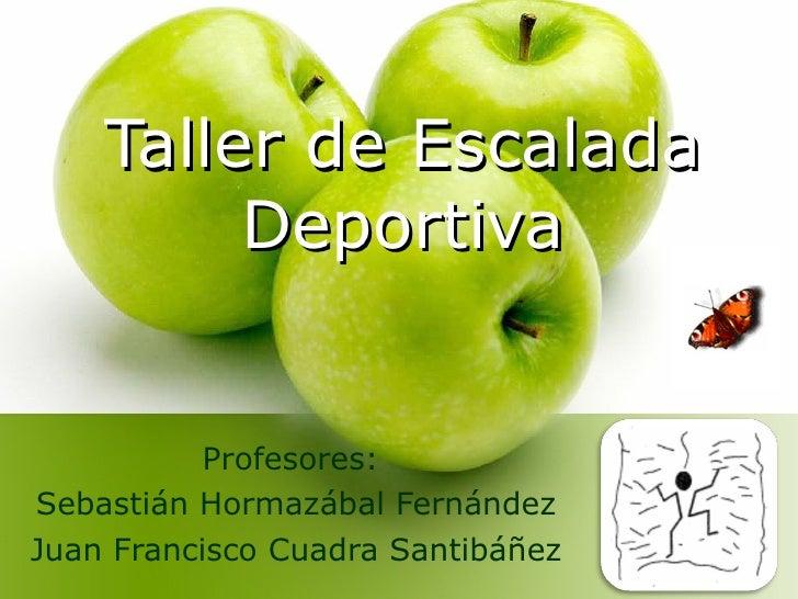 Taller de Escalada Deportiva Profesores:  Sebastián Hormazábal Fernández Juan Francisco Cuadra Santibáñez