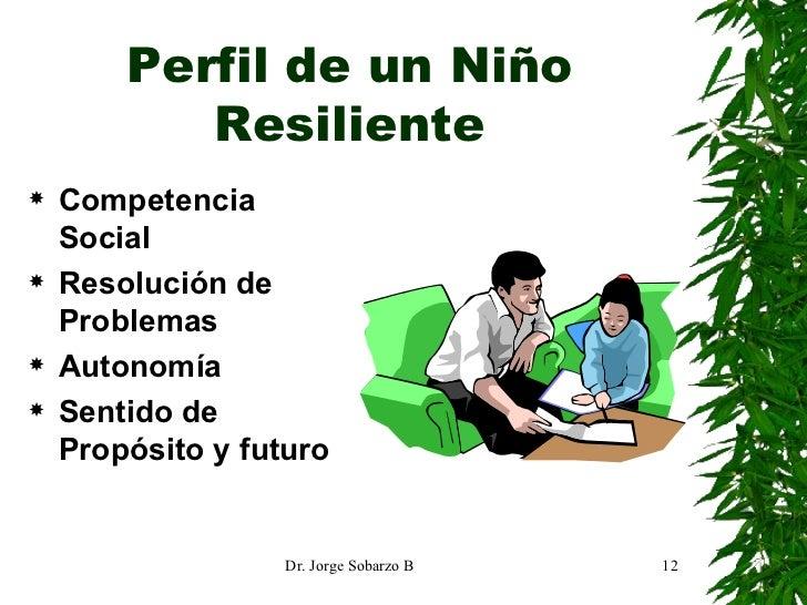 Perfil de un Niño Resiliente <ul><li>Competencia Social </li></ul><ul><li>Resolución de Problemas </li></ul><ul><li>Autono...
