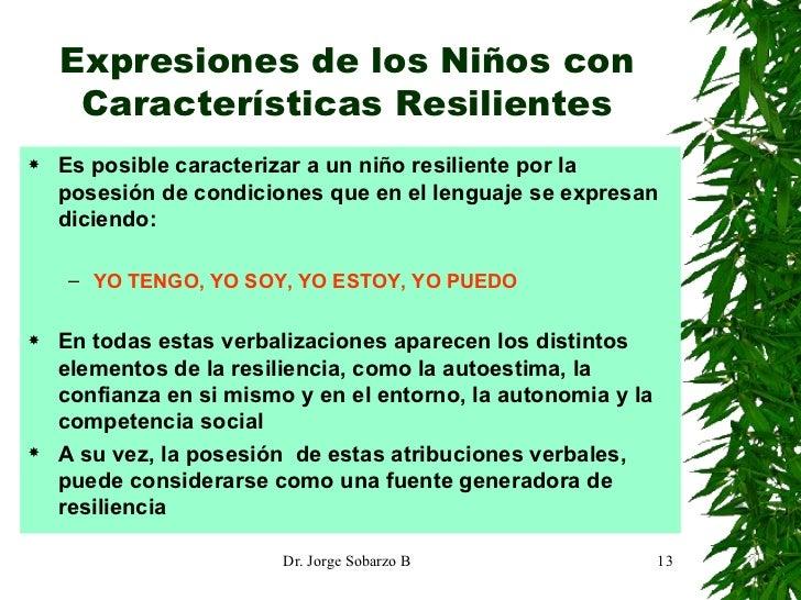 Expresiones de los Niños con Características Resilientes <ul><li>Es posible caracterizar a un niño resiliente por la poses...