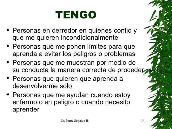 TENGO <ul><li>Personas en derredor en quienes confio y que me quieren incondicionalmente </li></ul><ul><li>Personas que me...
