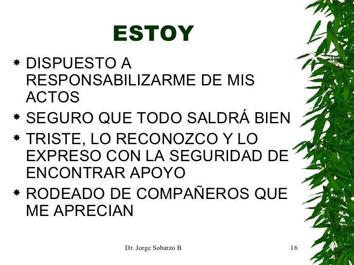 ESTOY <ul><li>DISPUESTO A RESPONSABILIZARME DE MIS ACTOS </li></ul><ul><li>SEGURO QUE TODO SALDRÁ BIEN </li></ul><ul><li>T...