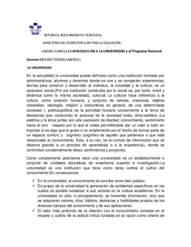 REPUBLICA BOLIVARIANA DE VENEZUELA. MINISTERIO DEL PODER POPULAR PARA LA EDUCACIÓN. UNIDAD CURRICULAR:INTRODUCCIÓN A LA UN...