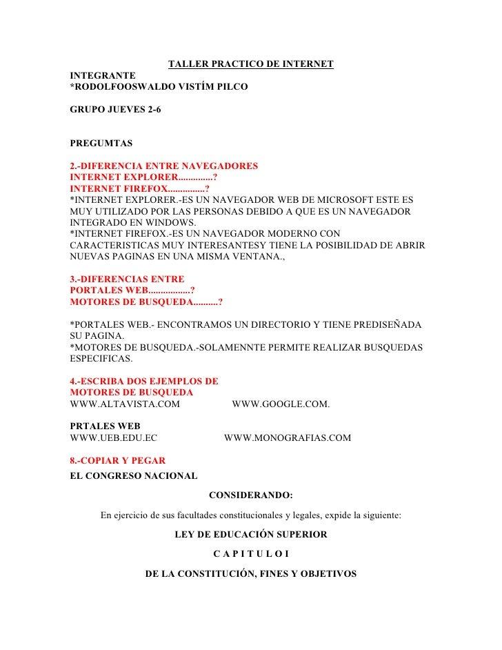 TALLER PRACTICO DE INTERNET INTEGRANTE *RODOLFOOSWALDO VISTÍM PILCO  GRUPO JUEVES 2-6   PREGUMTAS  2.-DIFERENCIA ENTRE NAV...