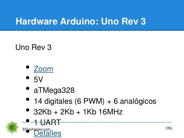 Hardware Arduino: Uno Rev 3 Uno Rev 3 • Zoom • 5V • aTMega328 • 14 digitales (6 PWM) + 6 analógicos • 32Kb + 2Kb + 1Kb 16M...