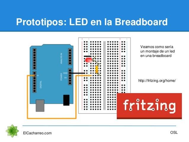 Prototipos: LED en la Breadboard ElCacharreo.com OSL Veamos como sería un montaje de un led en una breadboard http://fritz...