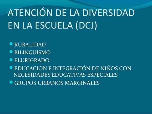 ATENCIÓN DE LA DIVERSIDAD EN LA ESCUELA (DCJ) RURALIDAD BILINGÜISMO PLURIGRADO EDUCACIÓN E INTEGRACIÓN DE NIÑOS CON NE...