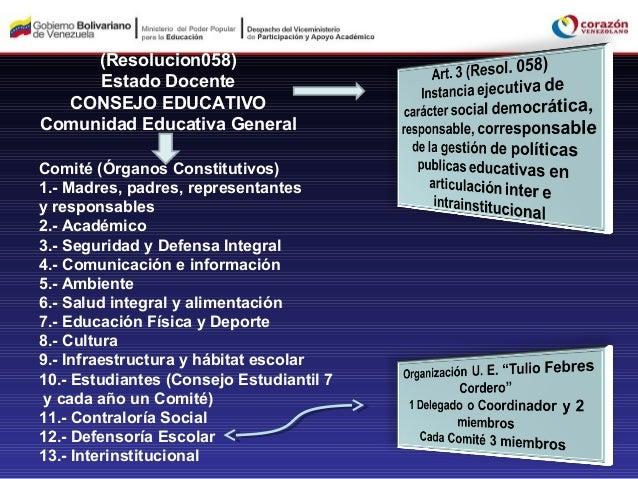 (Resolucion058)     Estado Docente  CONSEJO EDUCATIVOComunidad Educativa GeneralComité (Órganos Constitutivos)1.- Madres, ...
