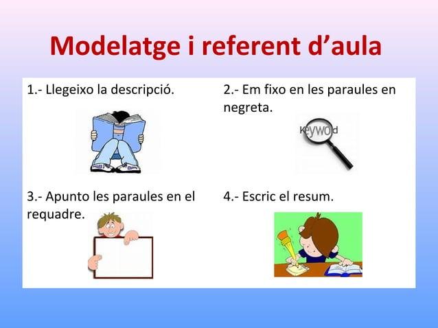 Modelatge i referent d'aula 1.- Llegeixo la descripció.  2.- Em fixo en les paraules clau.  3.- Apunto les paraules en el ...