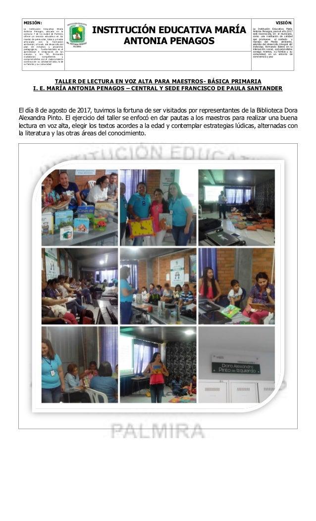 MISIÓN: La Institución Educativa María Antonia Penagos, ubicada en la comuna 7 de la ciudad de Palmira, ofrece un servicio...