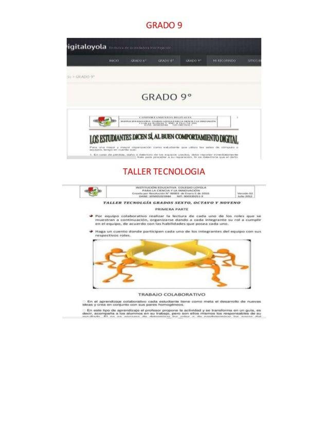 GRADO 9  TALLER TECNOLOGIA
