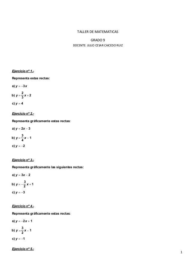 Taller de matematicas grado 9