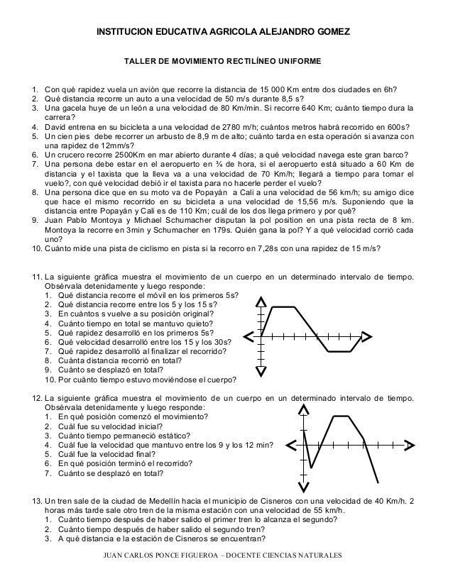 INSTITUCION EDUCATIVA AGRICOLA ALEJANDRO GOMEZ TALLER DE MOVIMIENTO RECTILÍNEO UNIFORME 1. Con qué rapidez vuela un avión ...