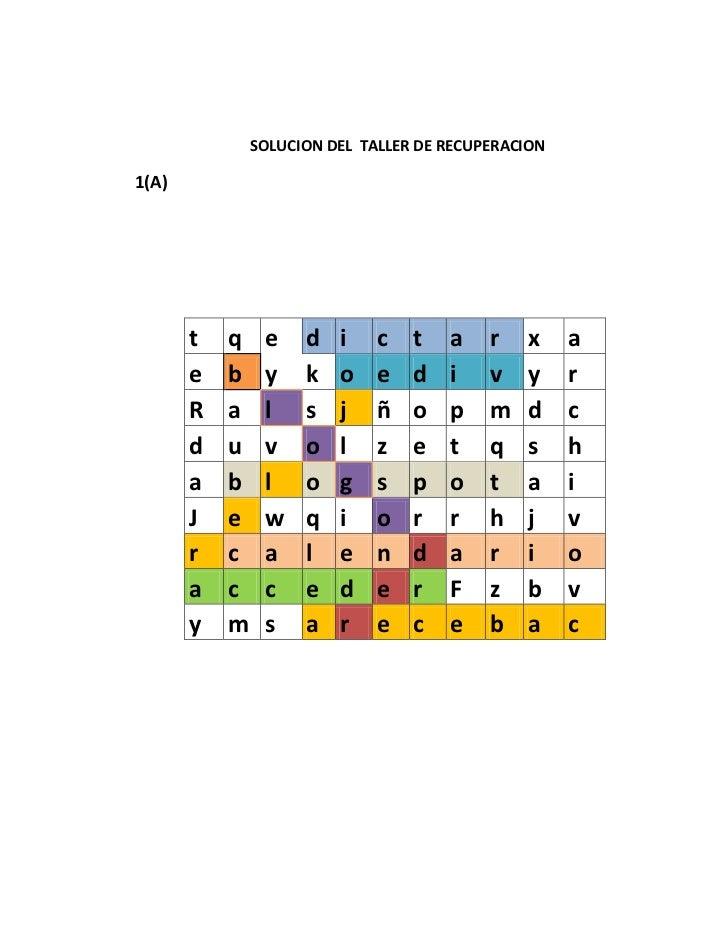 SOLUCION DEL TALLER DE RECUPERACION1(A)       t   q    e    d   i   c    t   a    r   x     a       e   b    y    k   o   ...