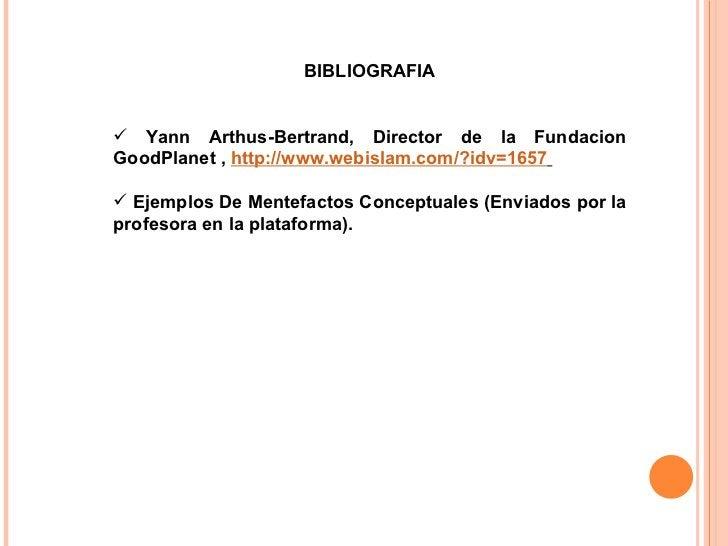 <ul><li>BIBLIOGRAFIA </li></ul><ul><li>Yann Arthus-Bertrand, Director de la Fundacion GoodPlanet,  http://www.webislam.co...