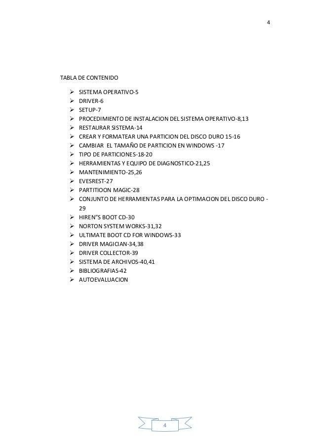 4 4 TABLA DE CONTENIDO  SISTEMA OPERATIVO-5  DRIVER-6  SETUP-7  PROCEDIMIENTO DE INSTALACION DEL SISTEMA OPERATIVO-8,1...