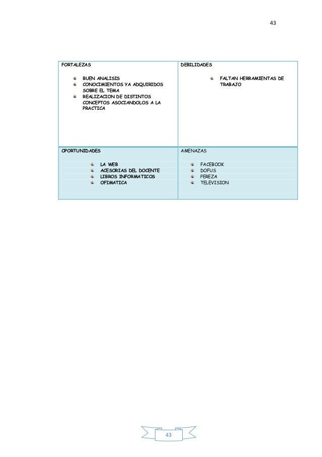 43 43 FORTALEZAS BUEN ANALISIS CONOCIMIENTOS YA ADQUIRIDOS SOBRE EL TEMA REALIZACION DE DISTINTOS CONCEPTOS ASOCIANDOLOS A...