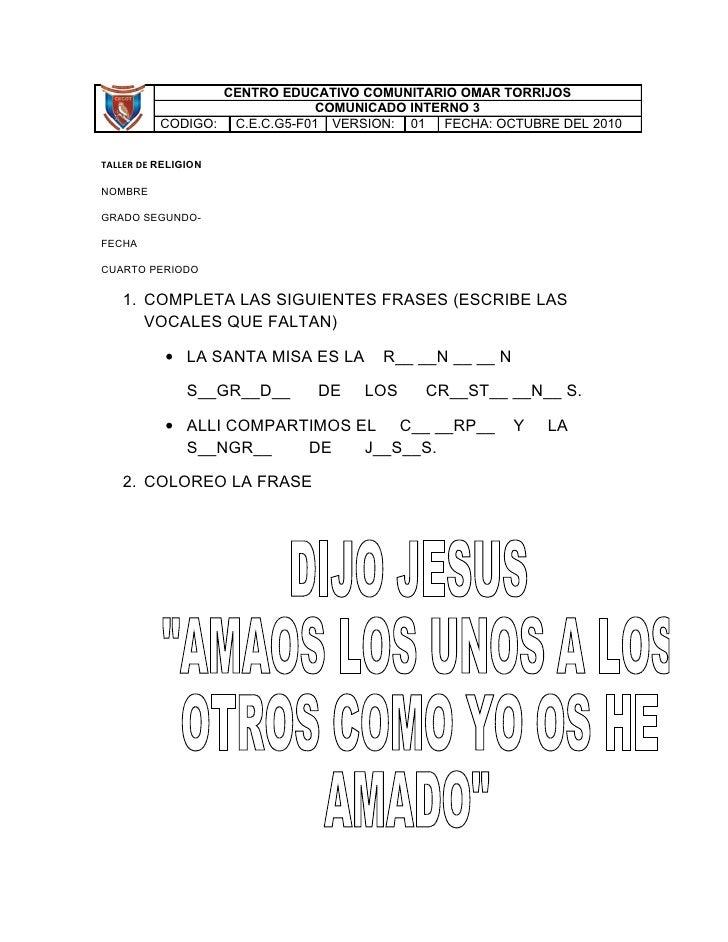 CENTRO EDUCATIVO COMUNITARIO OMAR TORRIJOS                               COMUNICADO INTERNO 3           CODIGO: C.E.C.G5-F...