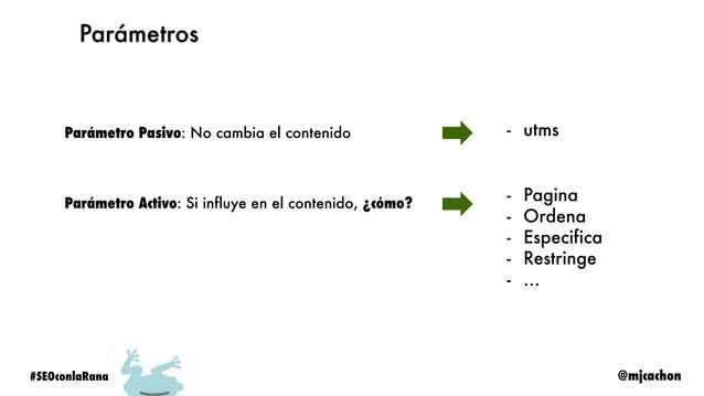 @mjcachon#SEOconlaRana Análisis SEO Sección Screaming Frog Robots.txt Configuration > Robots.txt > Settings Sitemap.xml Mo...
