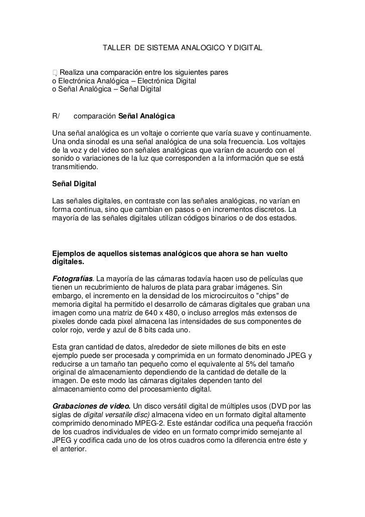 TALLER DE SISTEMA ANALOGICO Y DIGITALRealiza una comparación entre los siguientes pareso Electrónica Analógica – Electró...