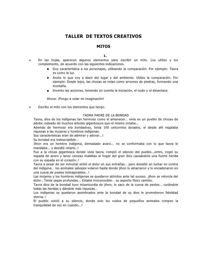 TALLER  DE TEXTOS CREATIVOS<br />MITOS<br />En las hojas, aparecen algunos elementos para escribir un mito. Los utilizo y ...