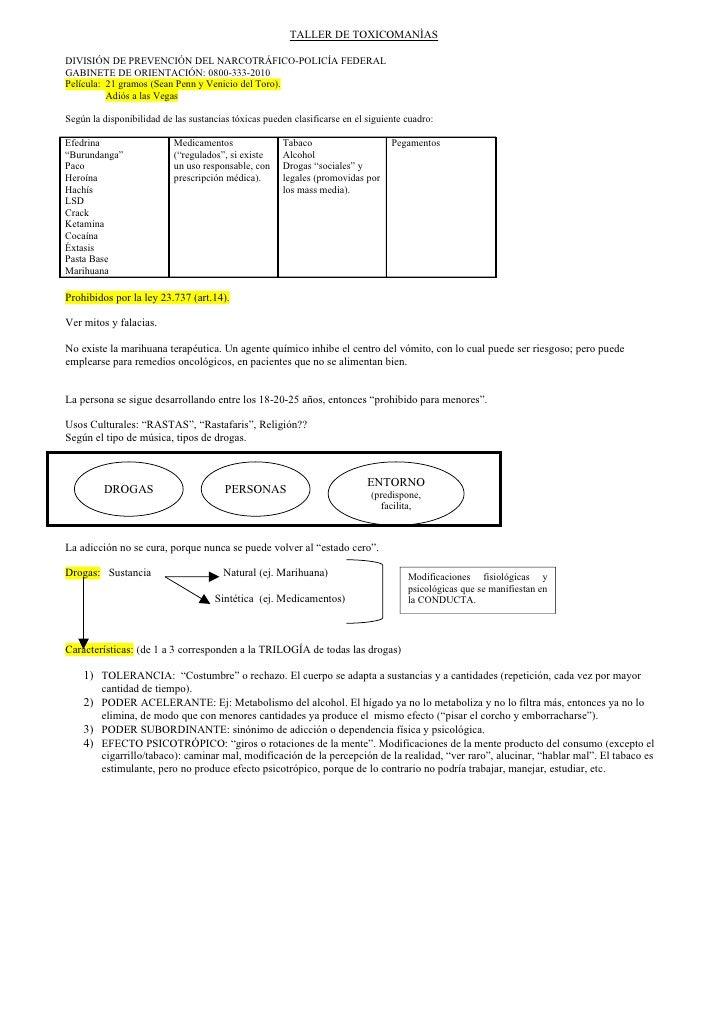 TALLER DE TOXICOMANÌASDIVISIÓN DE PREVENCIÓN DEL NARCOTRÁFICO-POLICÍA FEDERALGABINETE DE ORIENTACIÓN: 0800-333-2010Películ...