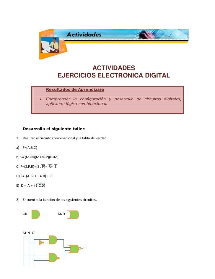 ACTIVIDADES                             EJERCICIOS ELECTRONICA DIGITAL                     Resultados de Aprendizaje      ...