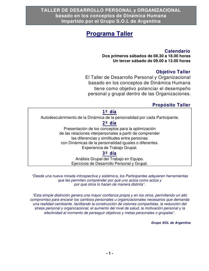 TALLER DE DESARROLLO PERSONAL y ORGANIZACIONAL            basado en los conceptos de Dinámica Humana              Impartid...