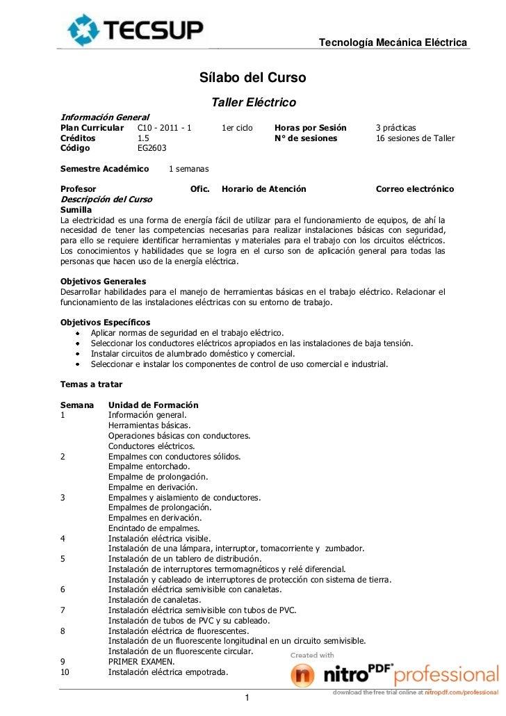 Tecnología Mecánica Eléctrica                                     Sílabo del Curso                                        ...