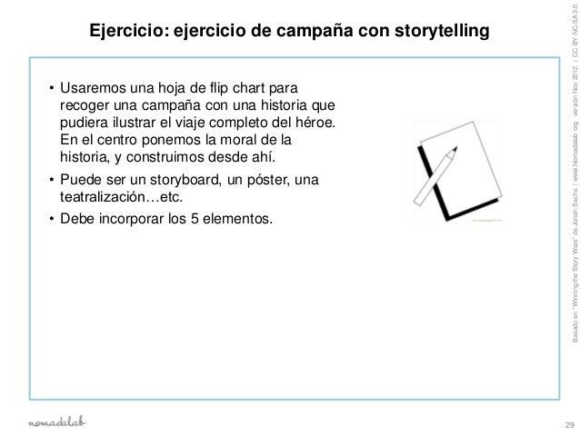 """Basado en """"Winning the Story Wars"""" de Jonah Sachs.   www.Nomadalab org versión Nov 2012   CC BY-NC-SA 3.0      Ejercicio: ..."""