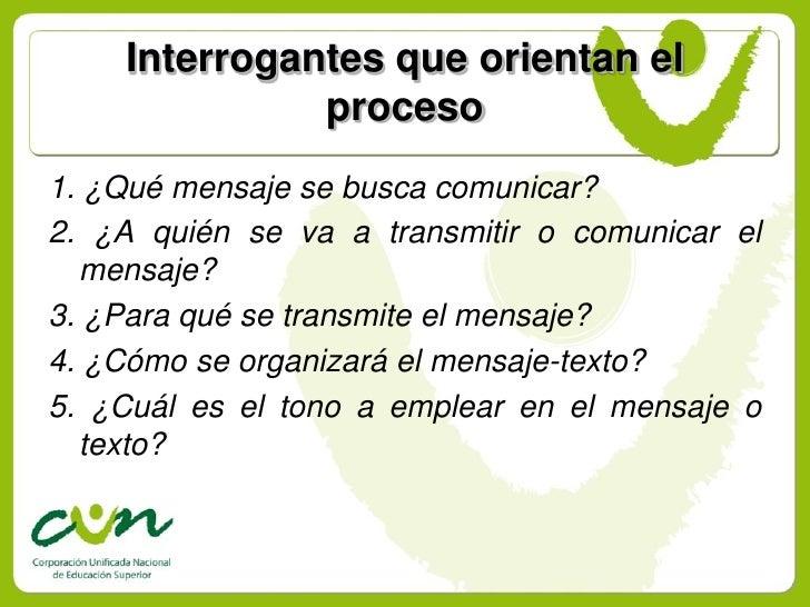 Interrogantes que orientan el               proceso 1. ¿Qué mensaje se busca comunicar? 2. ¿A quién se va a transmitir o c...