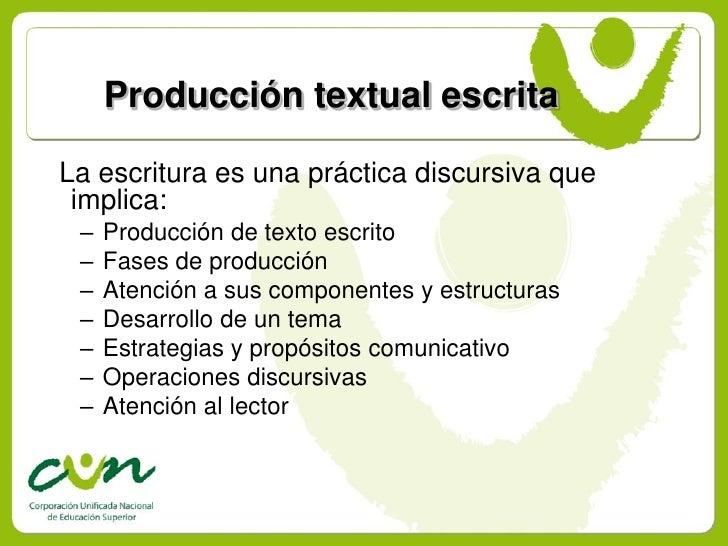 Producción textual escrita  La escritura es una práctica discursiva que  implica:  –   Producción de texto escrito  –   Fa...