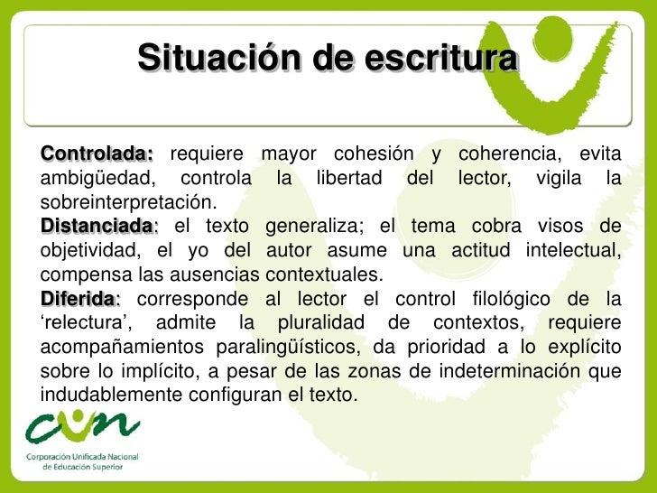 Situación de escritura  Controlada: requiere mayor cohesión y coherencia, evita ambigüedad, controla la libertad del lecto...
