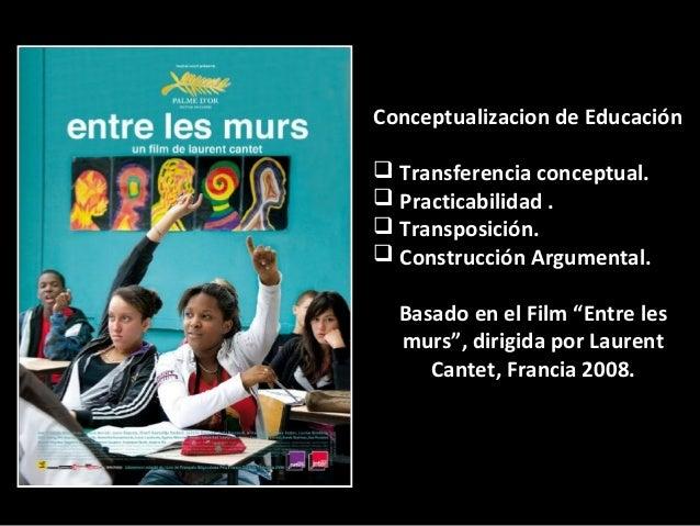 Conceptualizacion de Educación Transferencia conceptual. Practicabilidad . Transposición. Construcción Argumental.Basa...