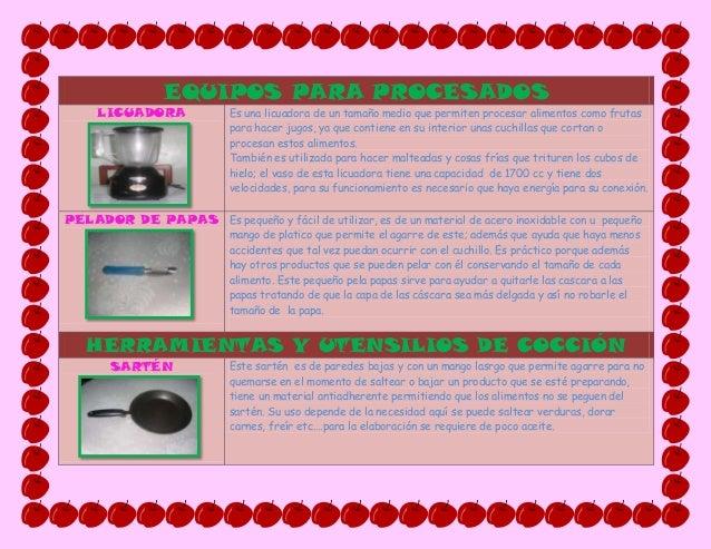 Taller equipos y herramientas de cocina for Utensilios de cocina y sus funciones pdf