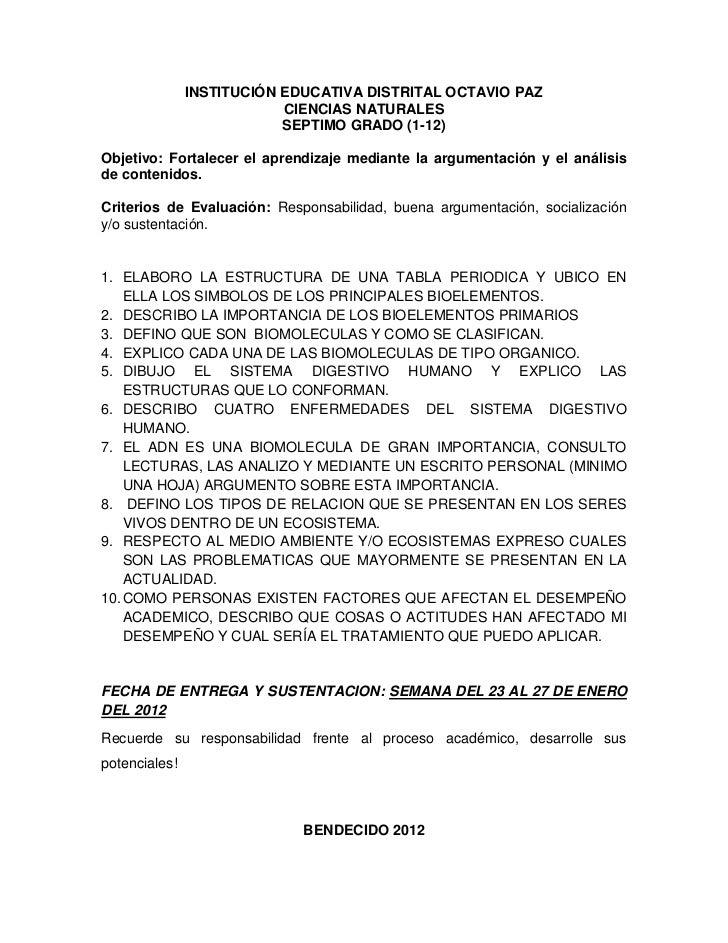 INSTITUCIÓN EDUCATIVA DISTRITAL OCTAVIO PAZ                           CIENCIAS NATURALES                           SEPTIMO...