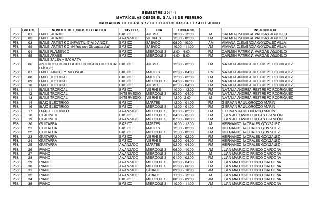 SEMESTRE 2014-1 MATRÍCULAS DESDE EL 3 AL 16 DE FEBRERO INICIACION DE CLASES 17 DE FEBRERO HASTA EL 14 DE JUNIO P58 P58 P58...