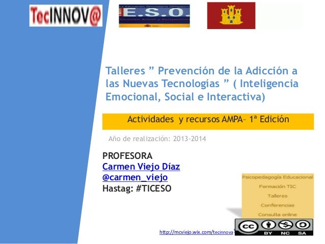 """NOMBRE PROGRAMA / Nombre profesor www.eoi.es Actividades y recursos AMPA– 1ª Edición Talleres """" Prevención de la Adicción ..."""