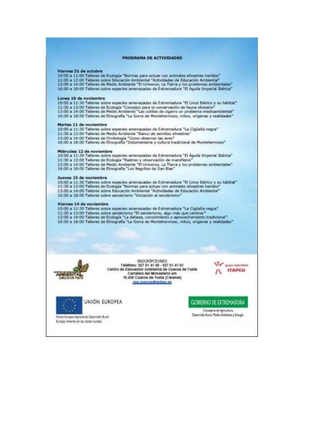 PROGRAMA DE ACTIVIDADB  Viernes 31 de octubre  10:00 a 11:00 TaHeces ¿'e Etología 'Names para ¿dust con ¿viruses salvesire...